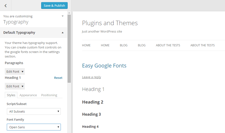 Easy Google Fonts Using the Customizer 01