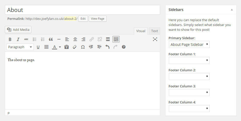 Page Specific Sidebars