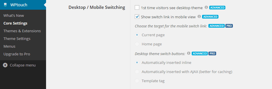 Enable Desktop Mobile Switching