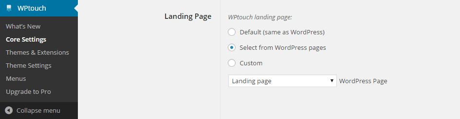 Set a Landing Page