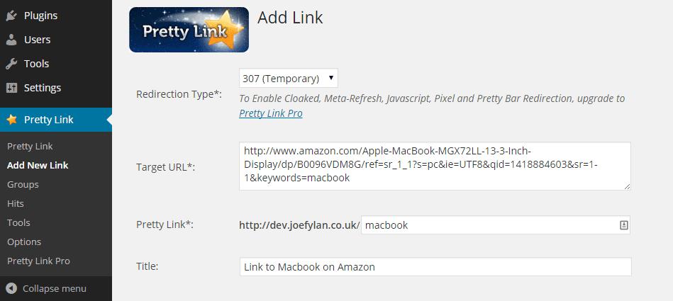 Add New Pretty Link