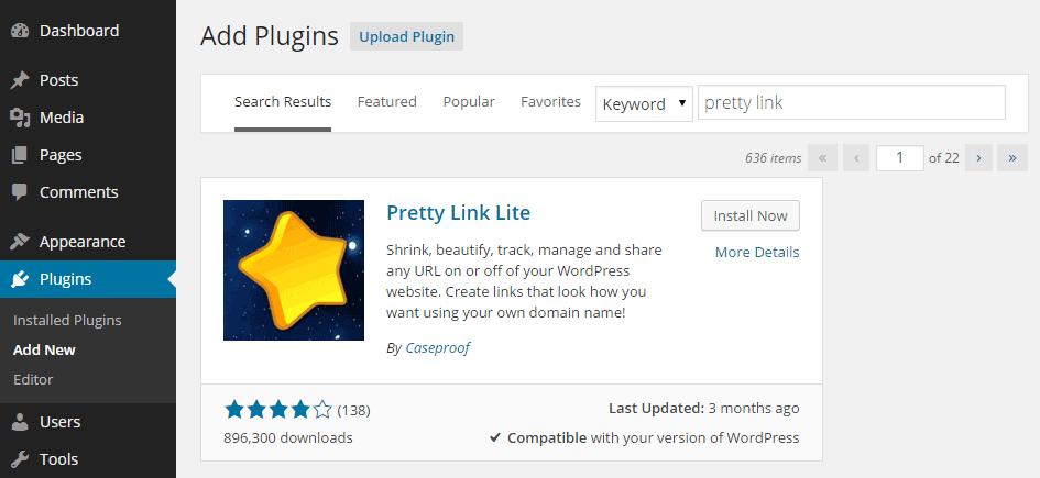 Add Pretty Link Plugin