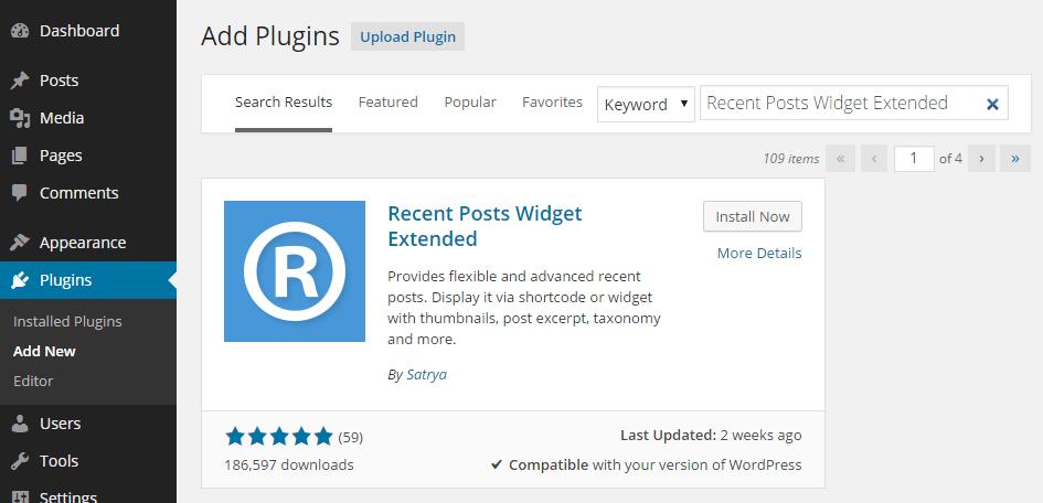 Add Recent Posts Widget Extended