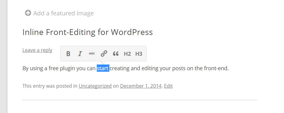 Front-end Editing in WordPress