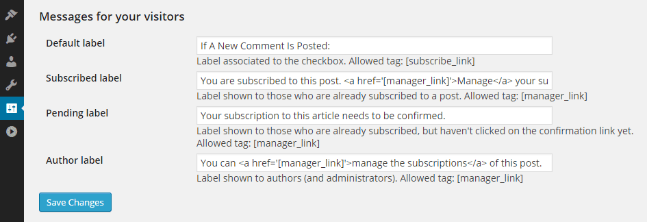 Subscribe to Comments Message Settings