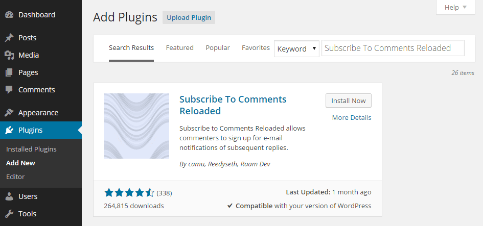 Subscribe to Comments Reloaded Add Plugin