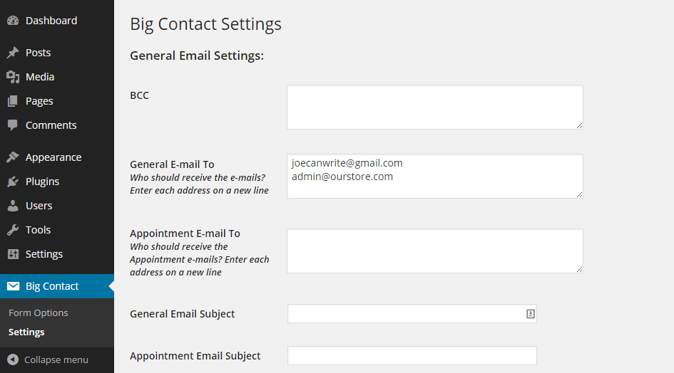 Big Contact Settings