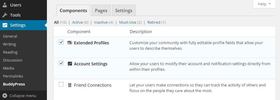 BuddyPress Components