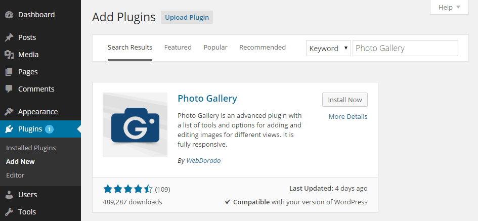 Add Photo Gallery Plugin