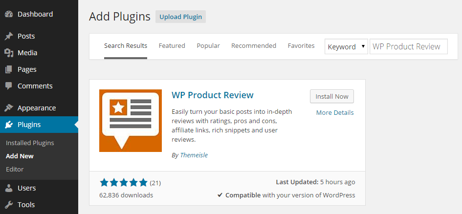 WP Product Review Add Plugin