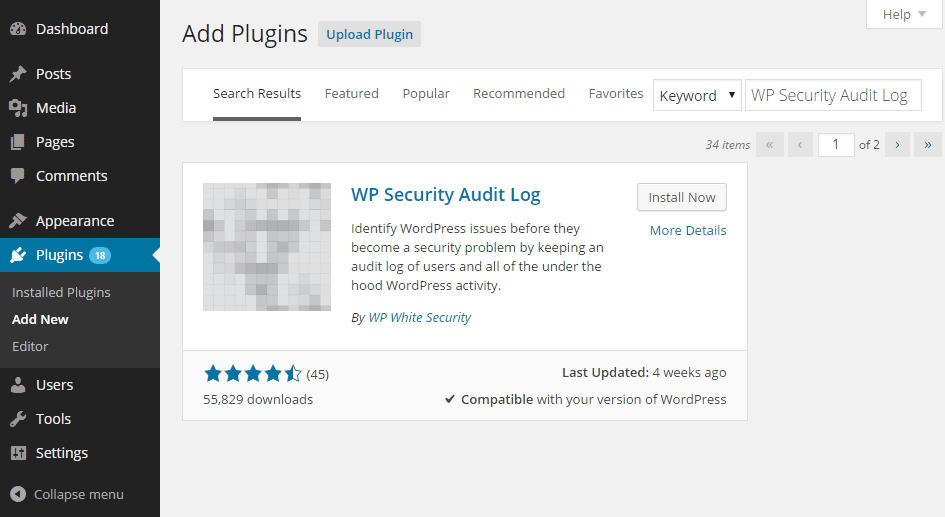 Add the WP Security Audit Log plugin