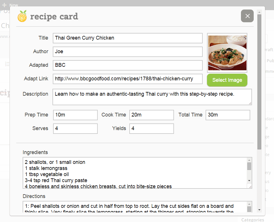 Add Recipe Card