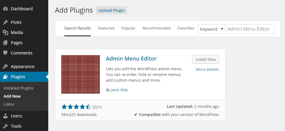 Admin Menu Editor Add Plugin