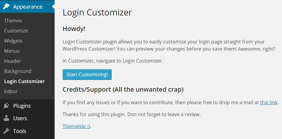 Custom Login Page Customizer Settings