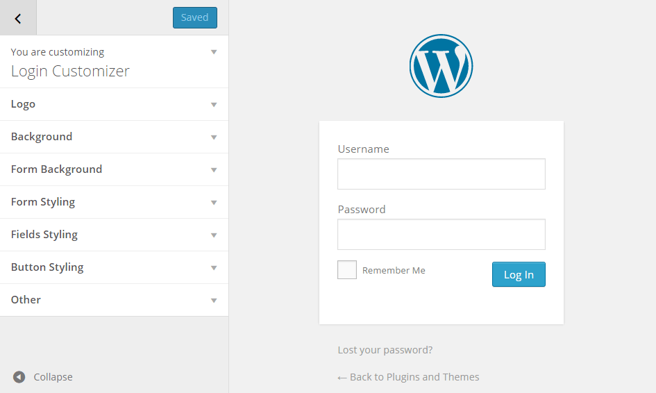 Login Page Customizer