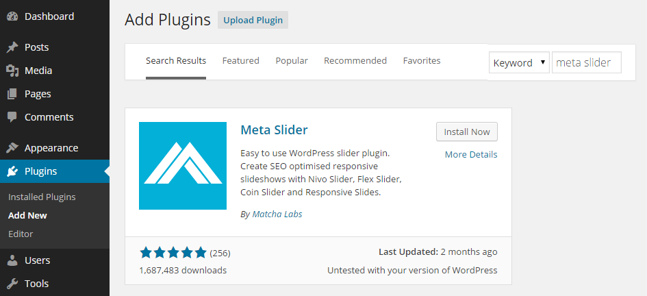 Add Meta Slider Plugin