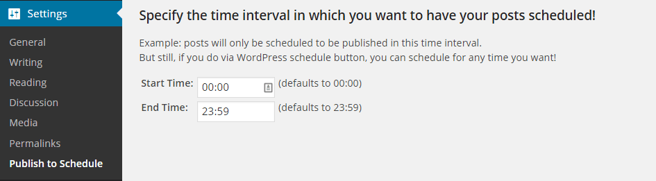 Publish to Schedule Settings Time