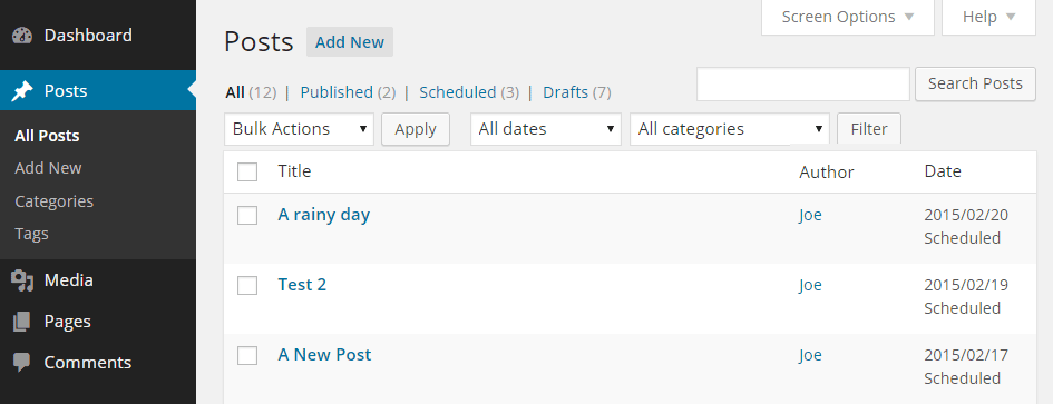 Publish to Schedule View Dates
