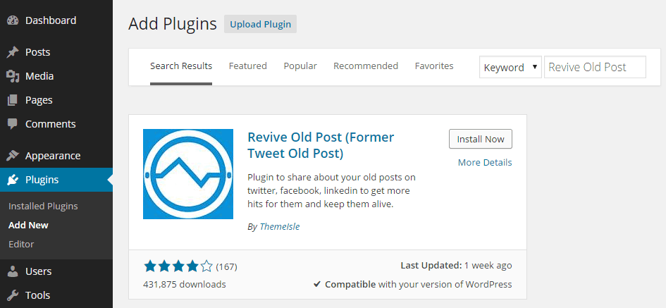 Revive Old Post Add Plugin