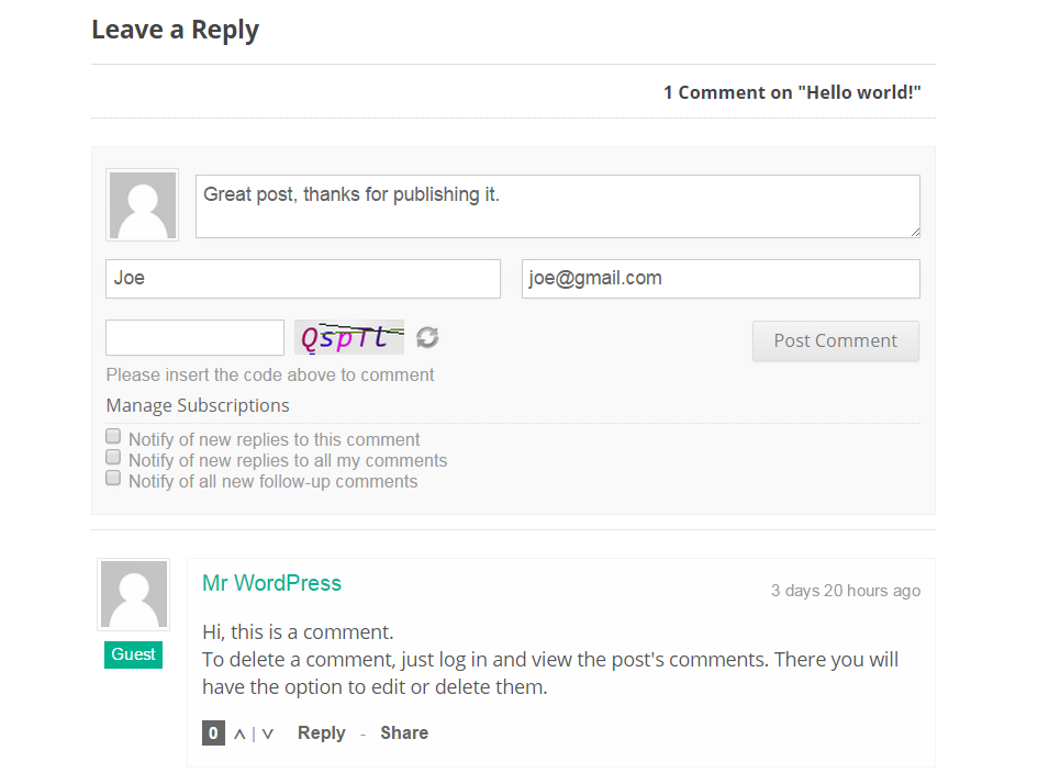 wpDiscuz New Comment Form
