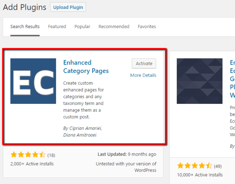 enhanced category pages wordpress plugin