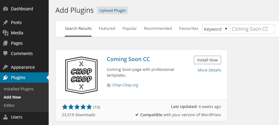 Coming Soon CC Add Plugin