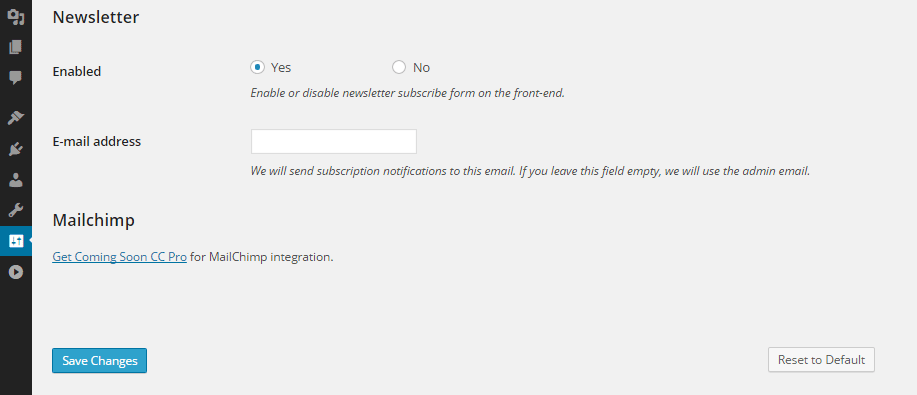 Coming Soon CC Newsletter Settings