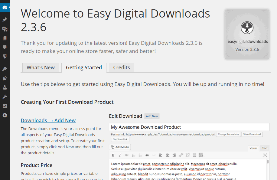 Easy Digital Downloads Getting Started