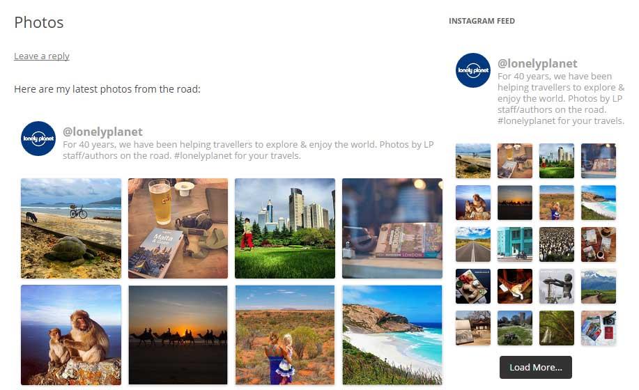 Widget instagram pour site web