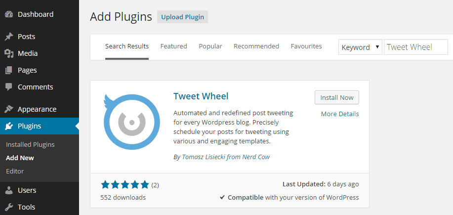 Tweet Wheel Add Plugin