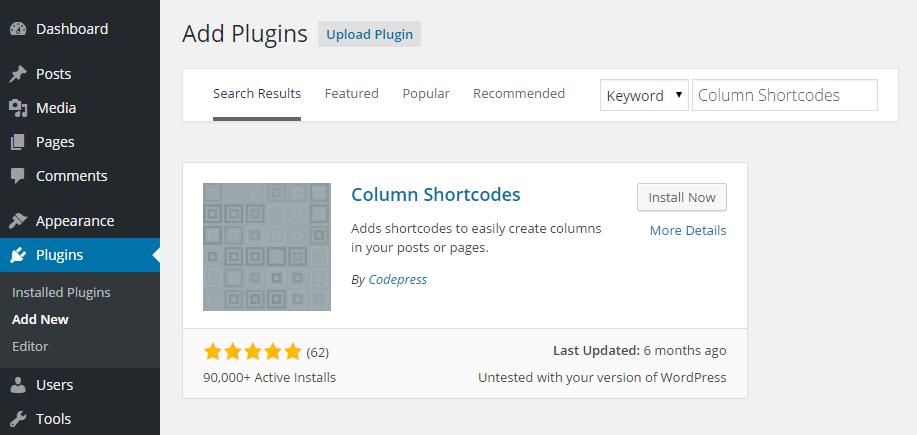 Column Shortcodes Add Plugin