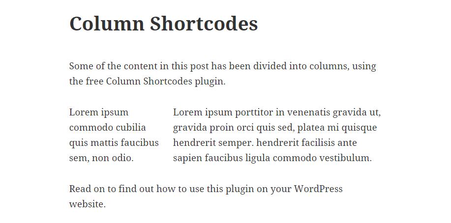 Column Shortcodes Example