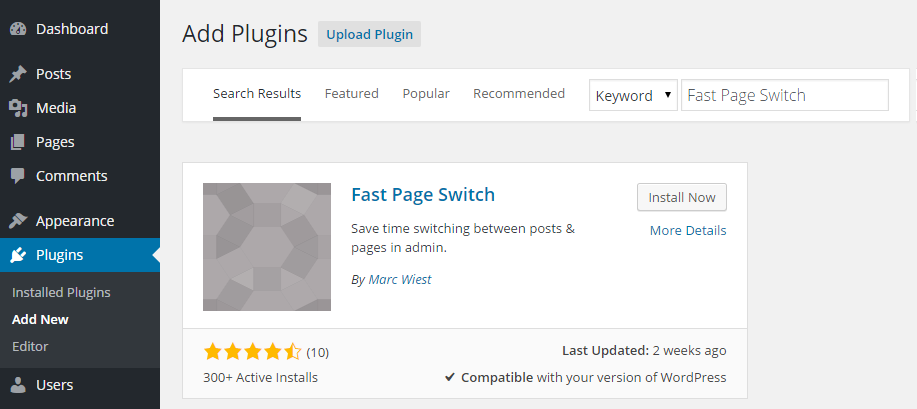 Fast Page Switch Add Plugin