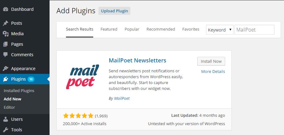 MailPoet Add Plugin