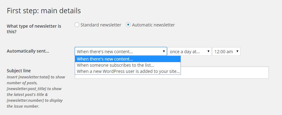 MailPoet Newsletter Settings