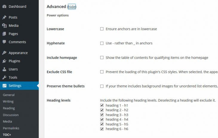 Table of Contents Advanced Settings