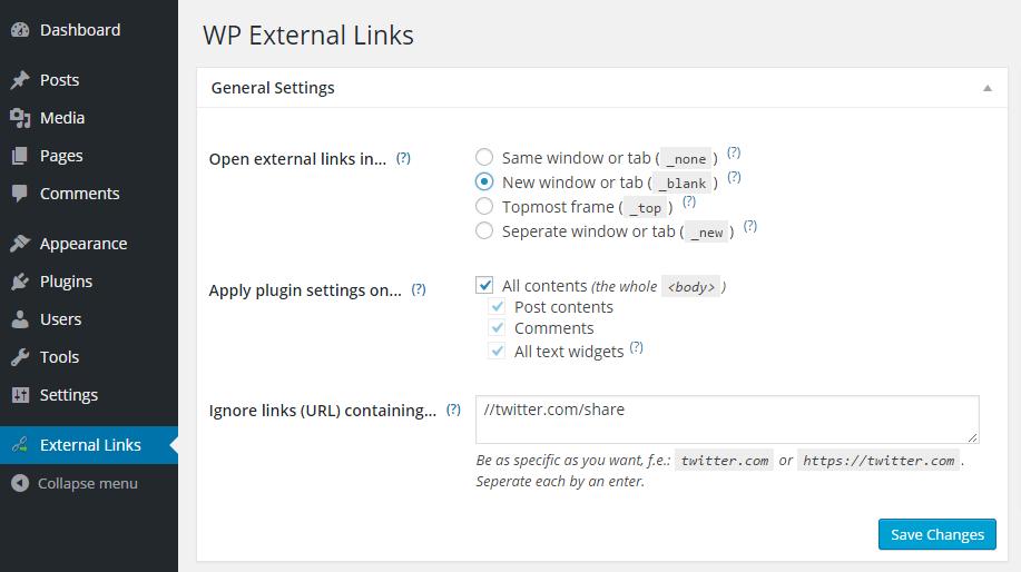 WP External Links Settings