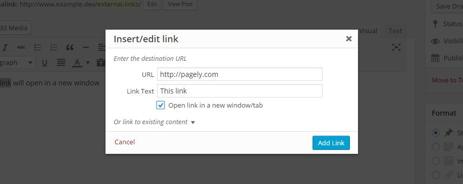WP Links Link Settings