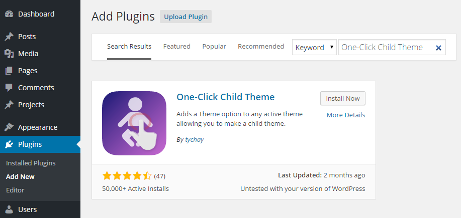 Child Theme Add Plugin
