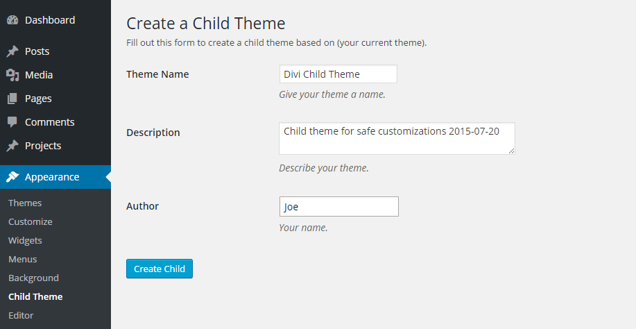Child Theme Details