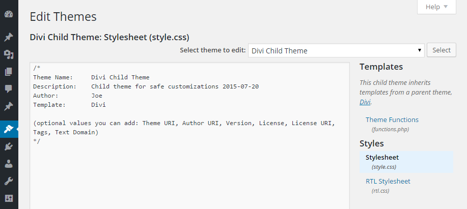Child Theme Edit CSS