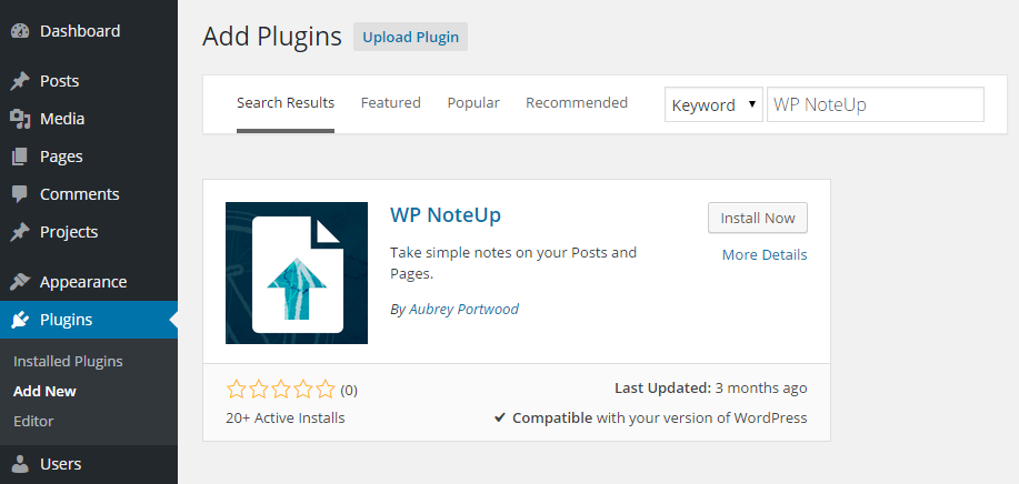 Note Up Add Plugin