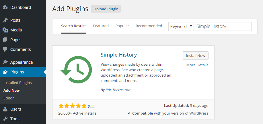 Simple History Add Plugin