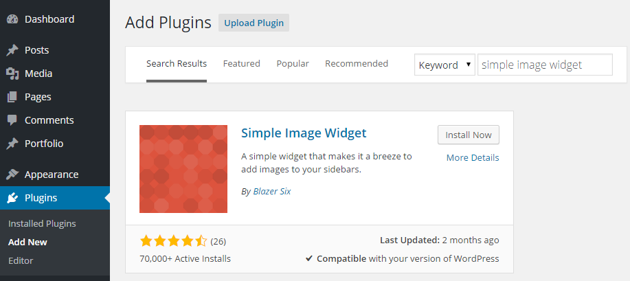 Simple Image Widget Add Plugin