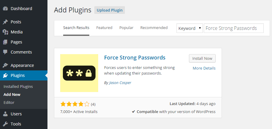 Add Force Strong Passwords Plugin