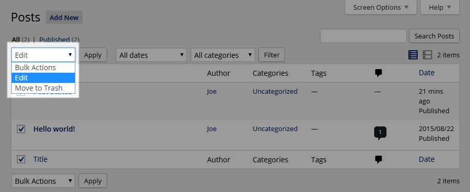 Archived Post Status Bulk Edit