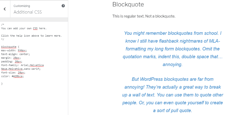 change text color WordPress blockquotes