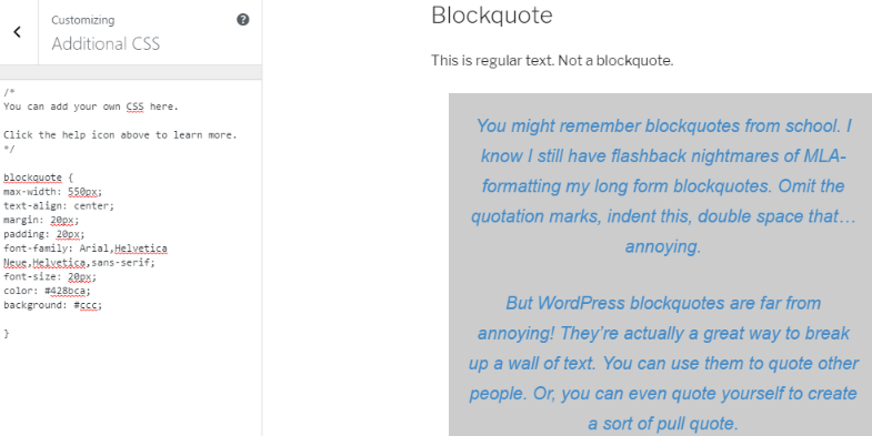 Add background WordPress blockquotes