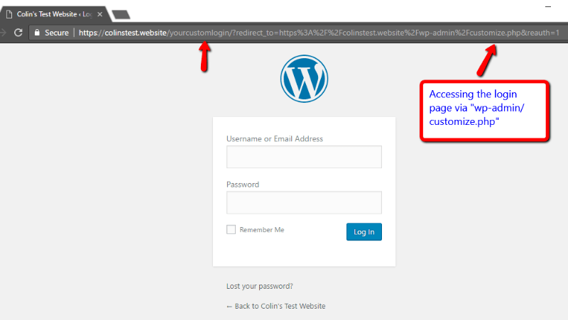 A screenshot of the WordPress login screen, with the number 1 by the URL bar