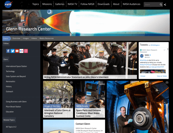 NASA Glenn Research Center Using WordPress Platform